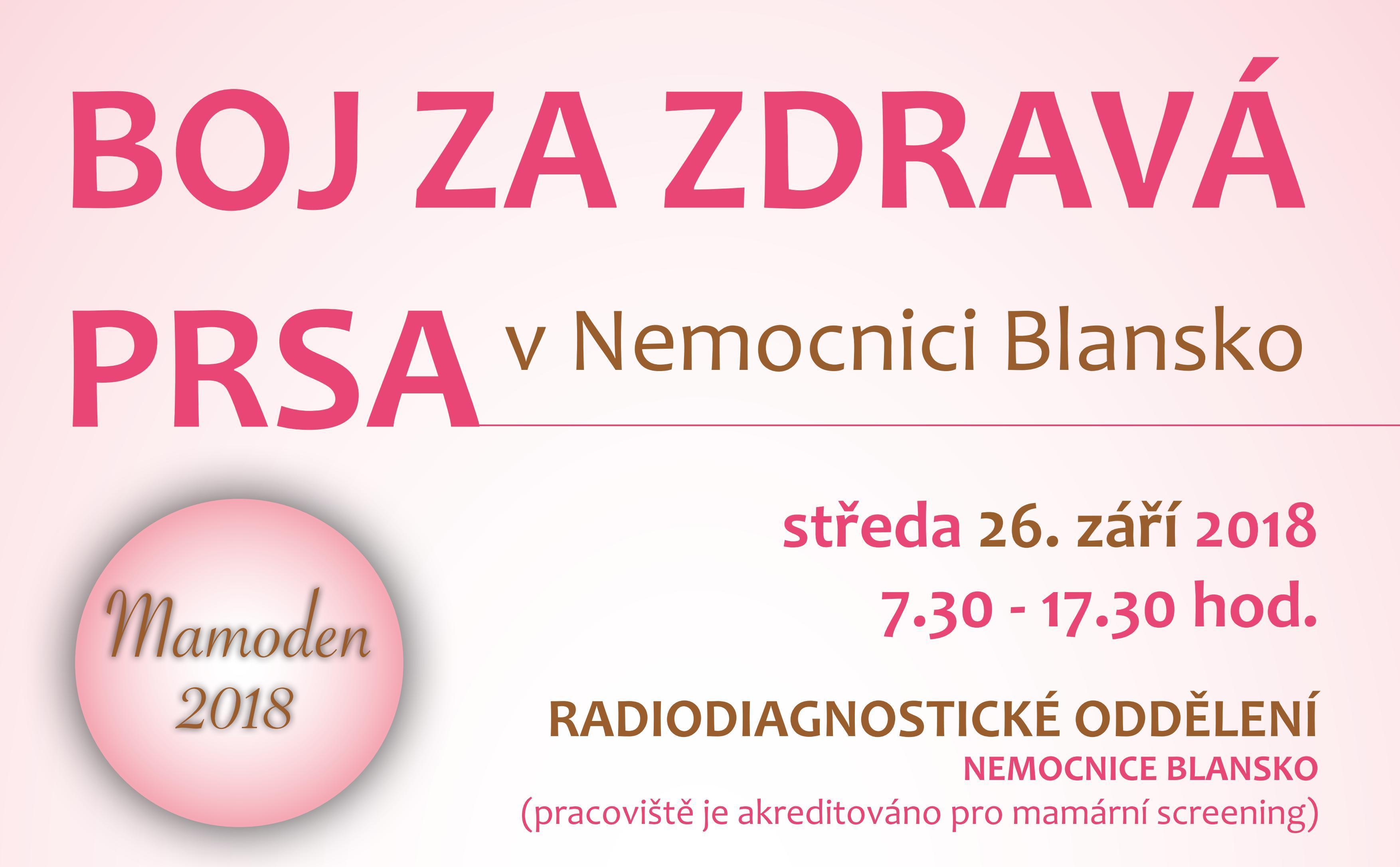 Boj za zdravá prsa 2018 v Nemocnici Blansko už posedmé